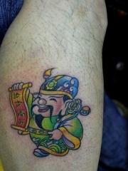 小腿财神彩绘纹身图案