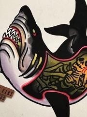 彩色大海風景紋身動物解剖鯊魚紋身手稿圖案