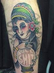 黑色平面几何线条纹身点刺技能纹身图案