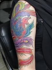 风华绝代的凤凰手臂纹身图案