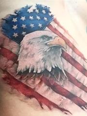 黑色老鹰纹身和美国国旗纹身腰部男性超威猛纹身图片