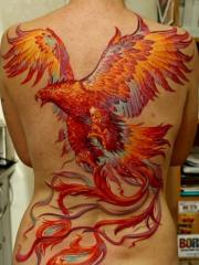 惊艳的满背凤凰彩色纹身图案