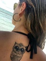 黑色幾何元素紋身動物貓頭鷹紋身圖卡通紋身小圖