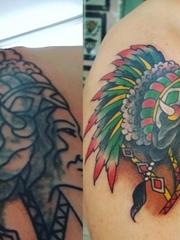 右肩膀上的彩色印第安风格人物纹身