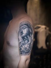 手臂佛像莲花个性纹身图案