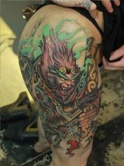 大腿霸气斗战胜佛彩绘纹身图案