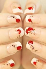 2017新款红色玫瑰花图案彩绘美甲图片