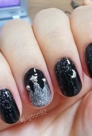 黑色的星空美甲图案彩绘美甲图片