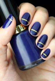 2017新款简单的深蓝色搭配金银线椭圆形短指甲法式美甲图片