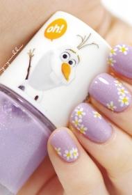 清新小菊花搭配紫色短指甲法式美甲图片