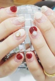 樱桃红色花法式diy珍珠装饰美甲款式图片
