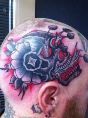 头部潮流很酷的一幅骷髅纹身图案
