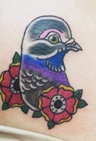 彩色鸽子纹身植物纹身素材动物图案纹身图片