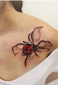 男性手臂上恐怖纹身骷髅头纹身立体小纹身3d图案