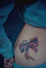 美女側腰粉色蝴蝶結紋身圖案