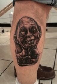 黑灰色恐怖纹身电影人物肖像纹身素描技巧咕噜纹身图片