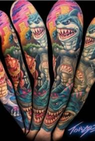 彩色的搞笑卡通纹身鲨鱼纹身小动物纹身图案