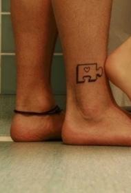 情侣脚踝拼图图腾个性纹身图案