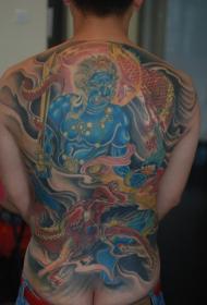 背部满背霸气的不动明王纹身图案