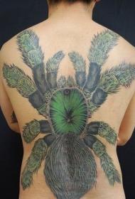 背部超大毒蜘蛛纹身图案
