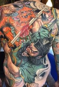 满背彩绘钟馗斩鬼纹身图案