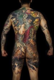 个性霸气伏虎罗汉大满背纹身图案