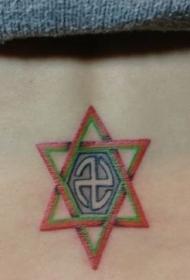 女孩子腰部彩色圖騰六芒星紋身圖案