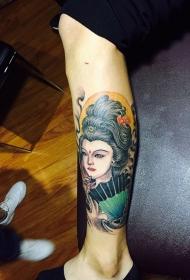 小腿艺妓彩绘纹身图案