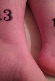 脚踝上纹身黑白灰风格纹身数字13抽象线条纹身图片