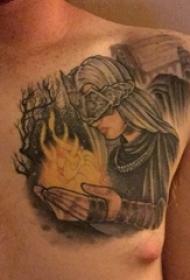男生胸部纹身黑白灰风格点刺纹身人物肖像纹身图片