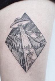 大腿上纹身黑白灰风格点刺纹身几何元素纹身风景图片