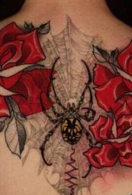 女人背部妖艳玫瑰和蜘蛛纹身图案