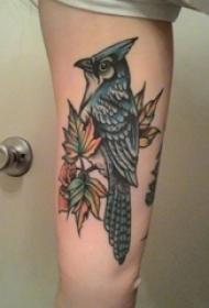 手臂是纹身彩绘技能植物纹身素材叶子纹身鸟纹身植物纹身图片
