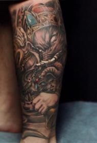 小腿霸气的象神纹身图案