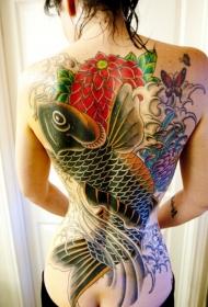 女性满背传统鲤鱼花卉彩色纹身图案