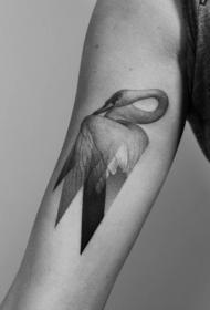 手臂好看的几何天鹅点刺纹身图案
