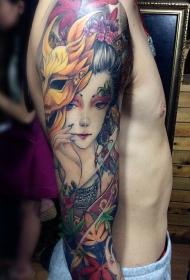 手臂美丽的艺妓枫叶彩绘纹身图案