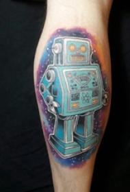 小腿上彩繪紋身技巧星空紋身圖幾何元素紋身機器人紋身圖片