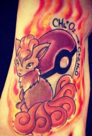 脚背宠物小精灵的小狐狸卡通纹身