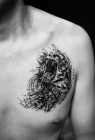 胸部泼墨震天怒吼的老虎纹身图案