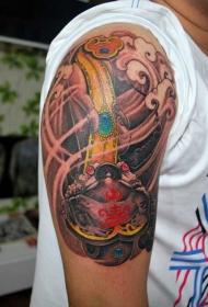 手臂玉如意金蟾纹身图案
