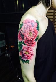手臂红色花中之王牡丹花彩绘纹身图案