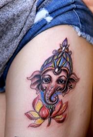 腿部守护生命的象神纹身图案