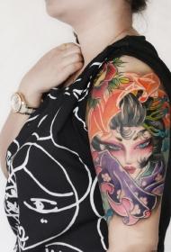 手臂如花美貌的艺妓彩绘纹身图案