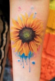手臂唯美的水彩向日葵纹身图案