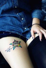 腿部时尚精美的五角星与字母纹身图案