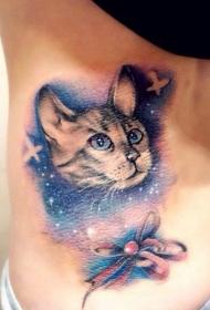 腰部彩色星空猫咪蝴蝶结纹身图案