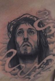 男士胸前个性耶稣头像纹身图案