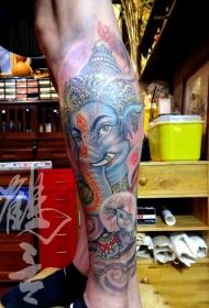 小腿迦尼萨象神彩绘纹身图案