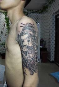 手臂般若面具艺妓纹身图案